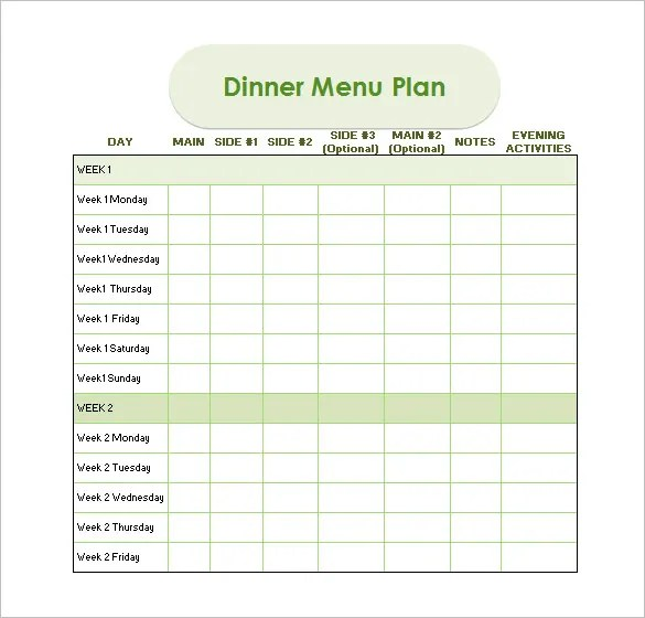 Dinner Schedule Template - 5 Free Word, Pdf, Excel Documents