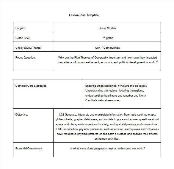 Common Core Lesson Plan Template \u2013 9+ Free Sample, Example, Format