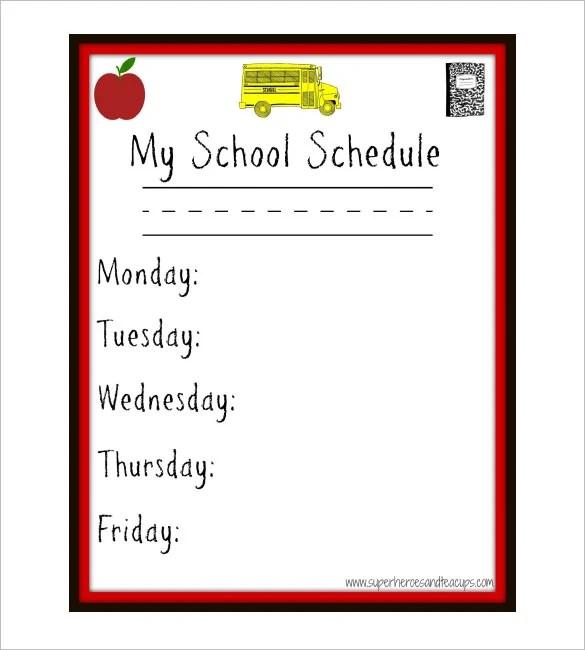 Weekly School Schedule Template -9 Free Word, Excel Documents