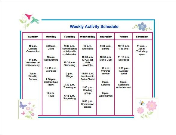 Activity Schedule Templates \u2013 12+ Free Word, Excel, PDF Format