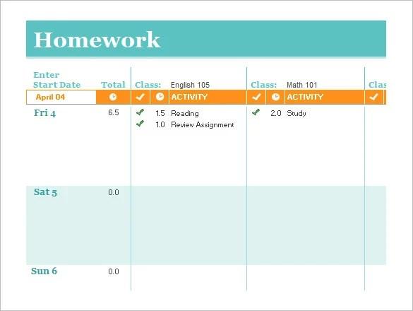 12+ Homework Schedule Templates - Free Word, Excel, PDF Format - cute weekly homework planner template