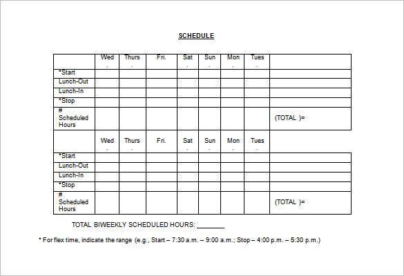 sample employee work schedule template - Onwebioinnovate
