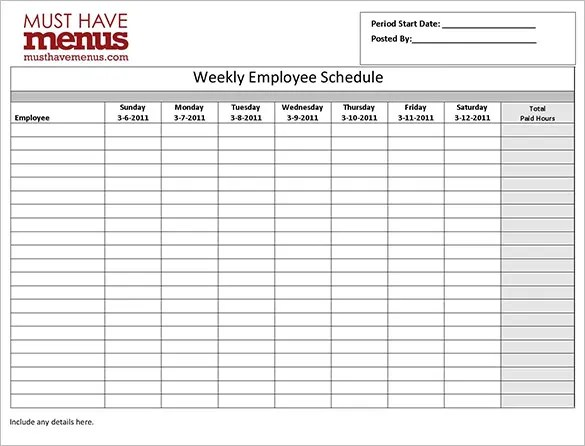Employee Work Schedule Template - 16+ Free Word, Excel, PDF Format