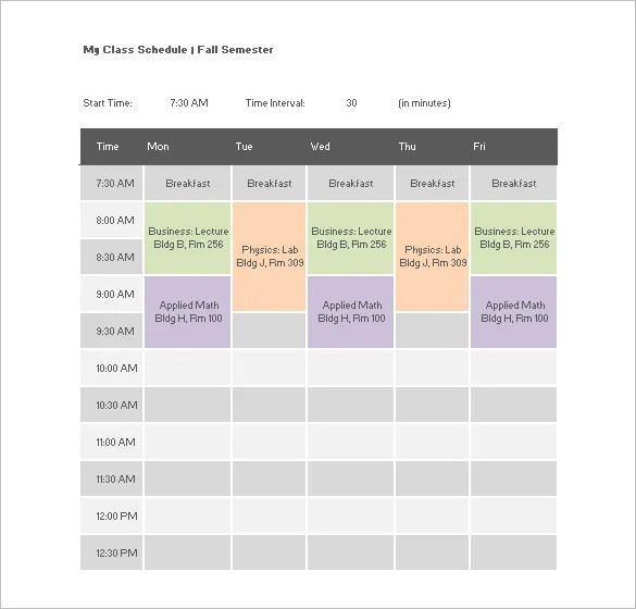 class schedule excel template - Onwebioinnovate - class schedule template sample