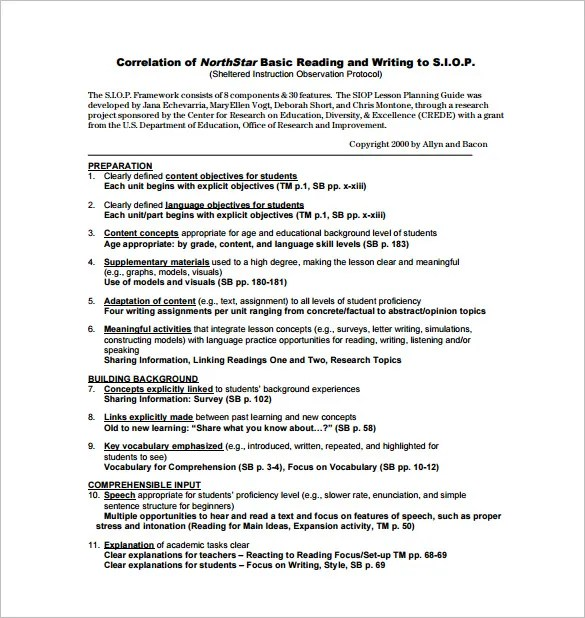 siop lesson plans examples siop lesson plans examples - free lesson plan format