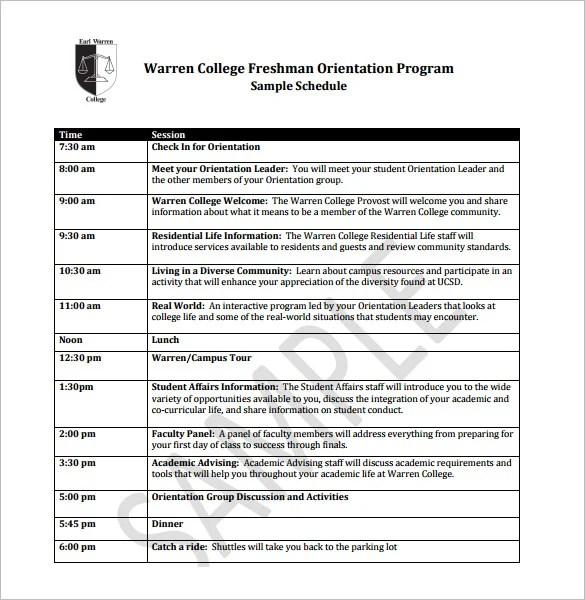Orientation Schedule Templates \u2013 11+ Free Word, Excel, PDF Format