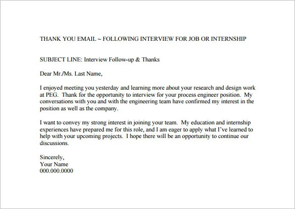 Thank You Email After Interview \u2013 17+ Free Word, Excel, PDF Format