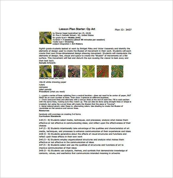 Art Lesson Plan Template u2013 12+ Free Sample, Example, Format - art lesson plans template
