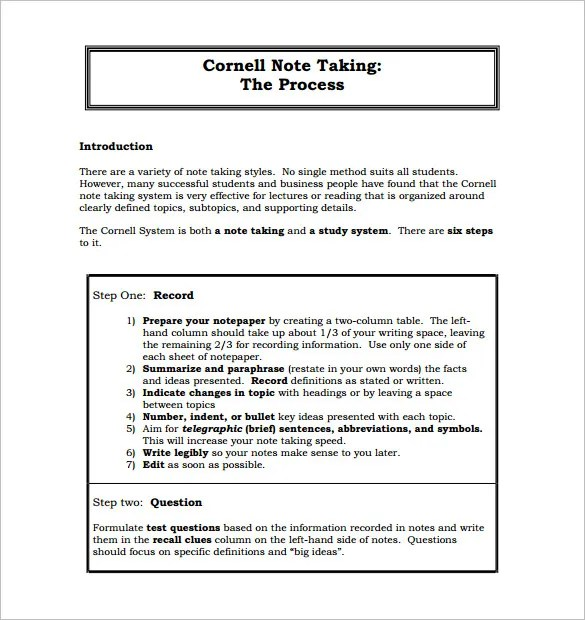 Cornell Notes Template - 51+ Free Word, PDF Format Download Free
