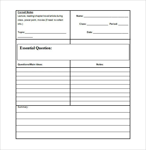 cornell notes template word document - Ozilalmanoof - Notes Template Word