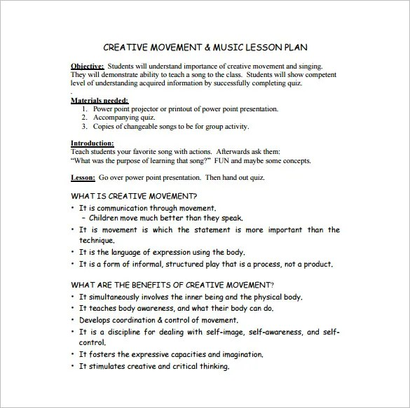 Music Lesson Plan Template \u2013 8+ Free Sample, Example, Format - sample lesson plan