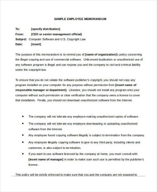 Employee Memo Template  Resume Ideas  NamanasaCom