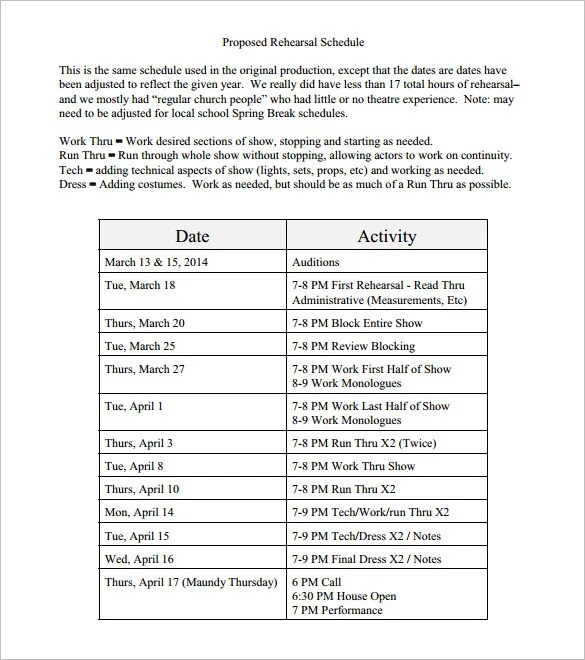 Rehearsal Schedule Templates \u2013 13+ Free Word, Excel, PDF Format - sample production schedule template
