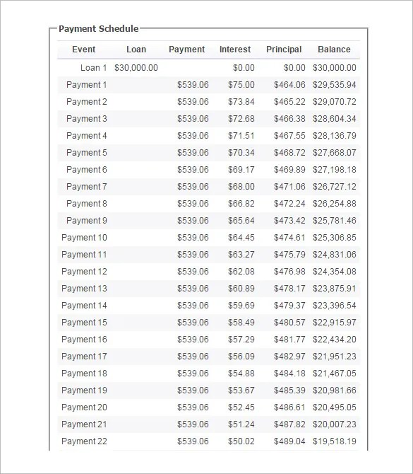 Loan Payment Schedule Templates u2013 9+ Free Word, Excel, PDF Format - loan templates