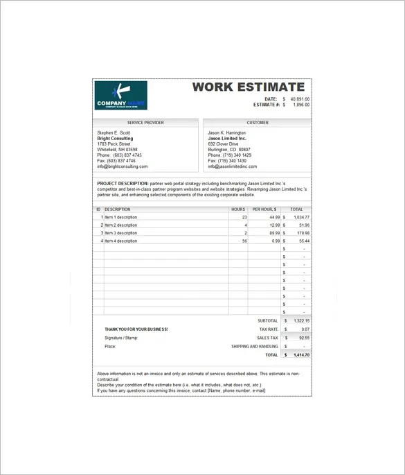 Estimate Invoice Template \u2013 7+ Free Sample, Example, Format Download - Website Invoice