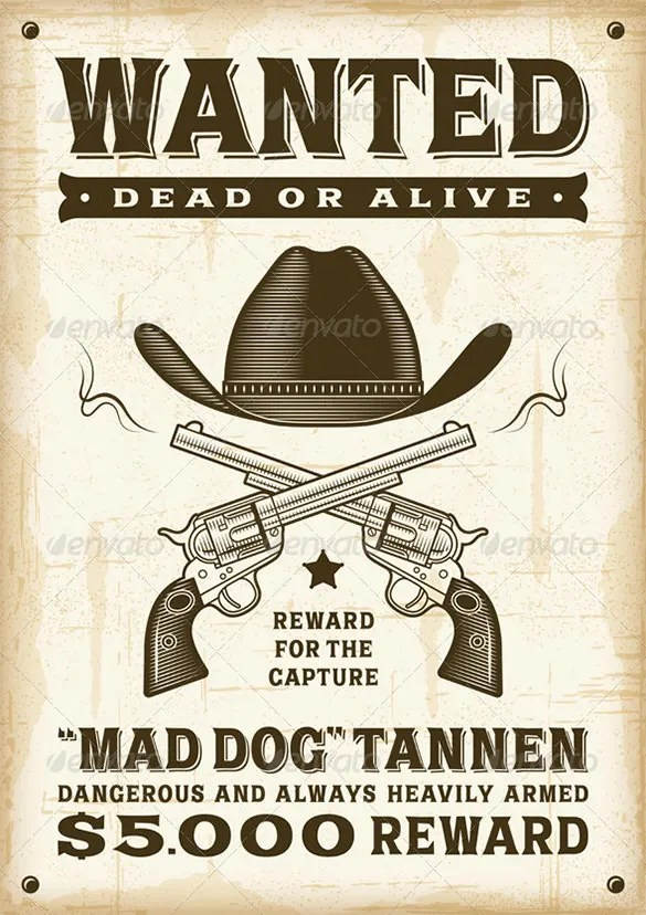 18+ Western Wanted Poster Templates - Free Printable, Sample