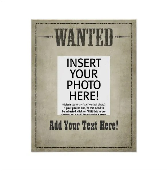 19+ Western Wanted Poster Templates \u2013 Free Printable, Sample - free wanted poster template