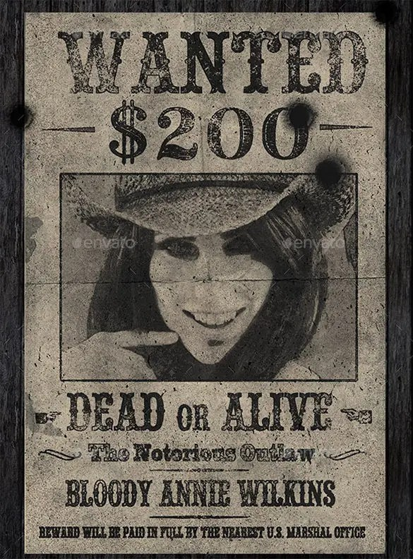 15+ Old Wanted Poster Templates \u2013 Free Printable, Sample, Example