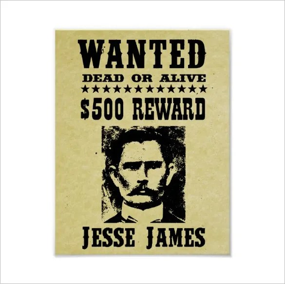 14+ Old Wanted Poster Templates - Free Printable, Sample, Example - example of a wanted poster
