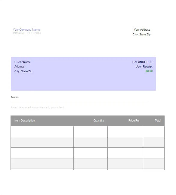 Billing Invoice Template \u2013 8+ Free Sample, Example, Format Download - template for a billing invoice