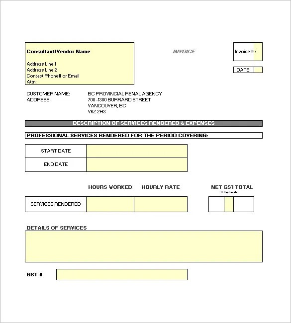 Contractor Invoice Template u2013 8+ Free Sample, Example, Format - sample invoices for services rendered