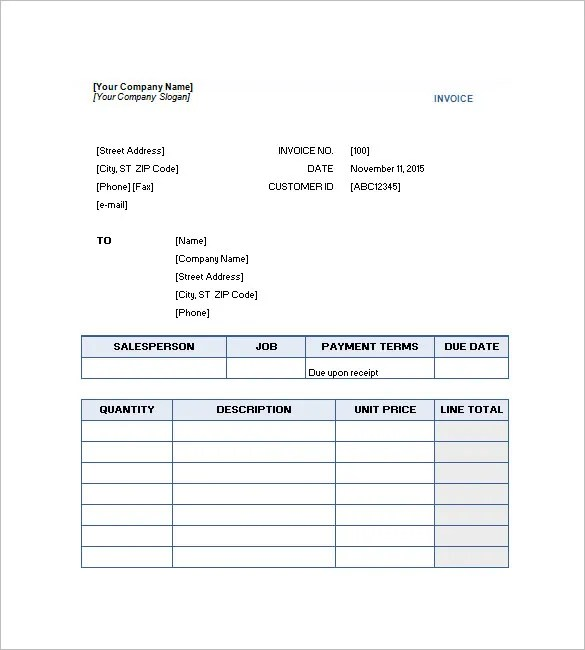 Service Invoice Template \u2013 10+ Free Sample, Example, Format Download