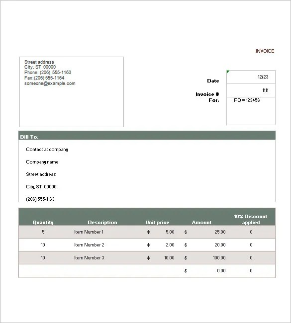 Sales Invoice Template \u2013 6+ Free Sample, Example, Format Download