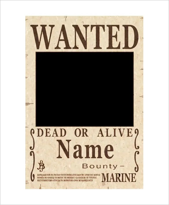 12+ One Piece Wanted Poster Templates \u2013 Free Printable, Sample