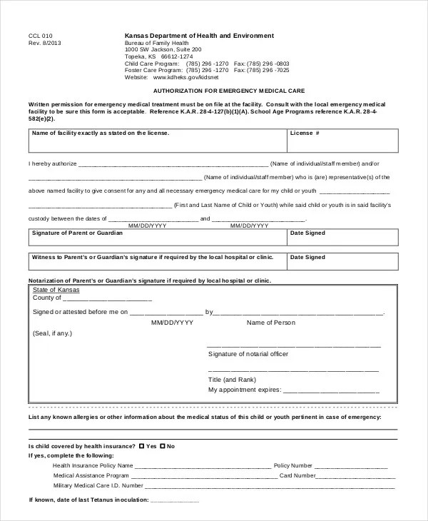 10+ Printable Medical Authorization Forms - PDF, DOC Free - medical consent form
