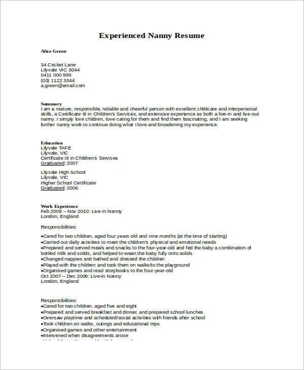 example resume for nanny job