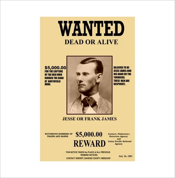Example Of A Wanted Poster - Fiveoutsiders