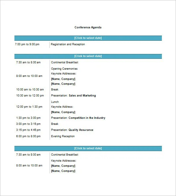 Conference Agenda Template \u2013 8+ Free Word, Excel, PDF Format - conference schedule template