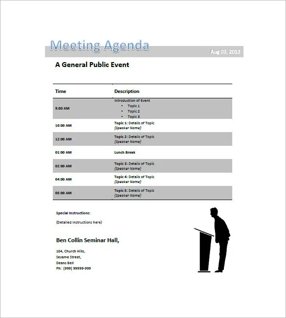 Conference Agenda Template u2013 8+ Free Word, Excel, PDF Format - sample meeting agenda 2