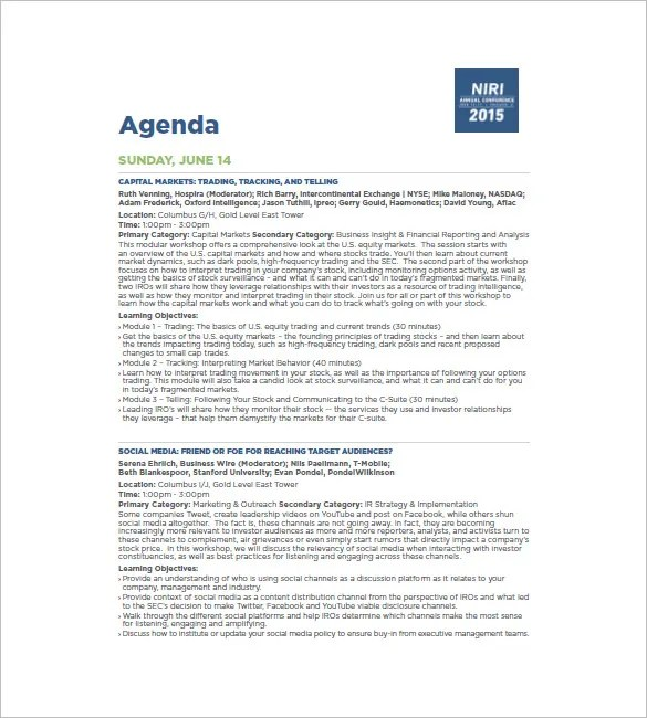 8+ Conference Agenda Templates \u2013 Free Sample, Example, Format
