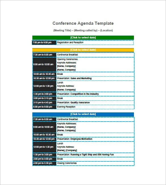 Conference Agenda Template – 8+ Free Word, Excel, Pdf Format
