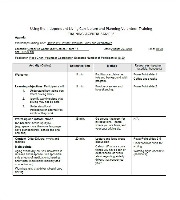 Training Agenda Template \u2013 8+ Free Word, Excel, PDF Format Download - Sample Training Agenda