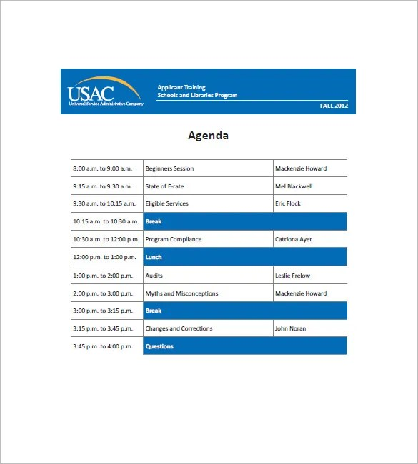 Training Agenda Template \u2013 8+ Free Word, Excel, PDF Format Download