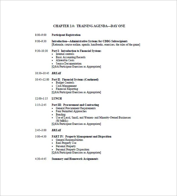 Workshop Agenda Samples - sample meeting agenda 2
