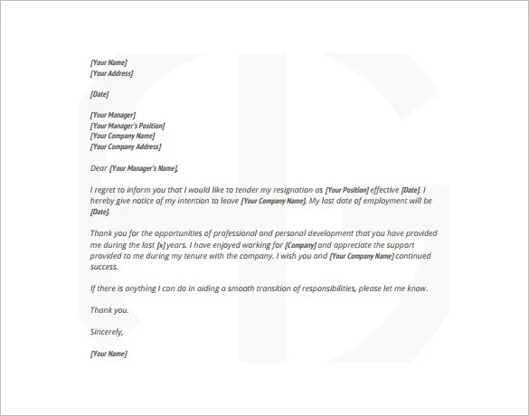 15+ Simple Resignation Letter Templates - PDF, DOC Free  Premium - Simple Resignation Letter