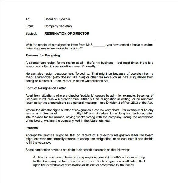 17+ Resignation Letter Examples - PDF, DOC Free  Premium Templates