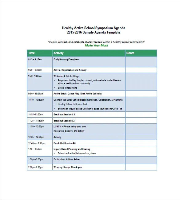 School Agenda Template \u2013 8+ Free Word, Excel, PDF Format Download
