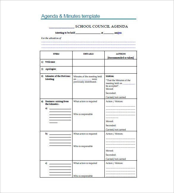 8+ School Agenda Templates - Free Sample, Example, Format Download