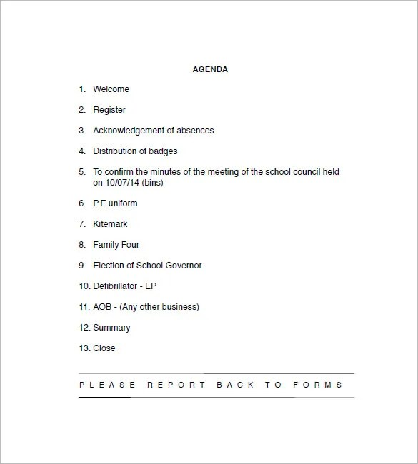 8+ School Agenda Templates - Free Sample, Example, Format Download