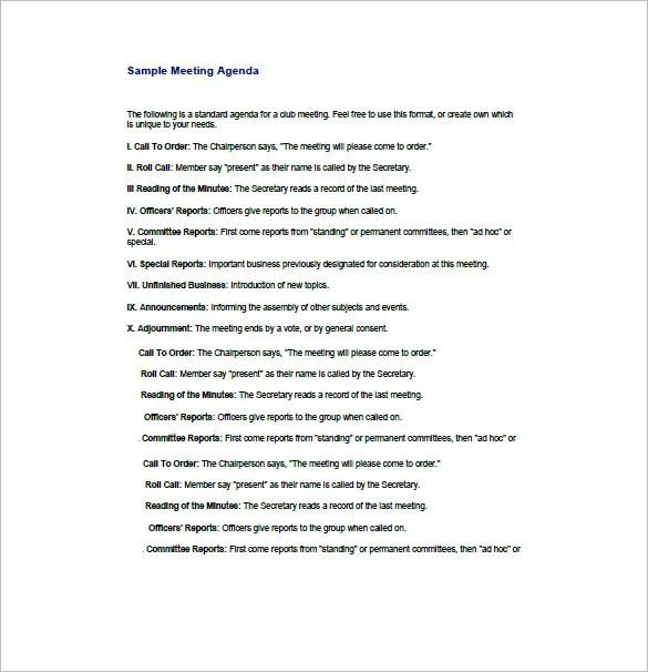 Business Agenda Template \u2013 8+ Free Word, Excel, PDF Format Download