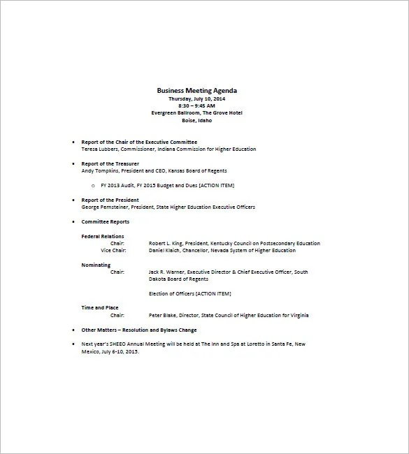 8+ Business Agenda Templates - Free Sample, Example, Format Download - format for an agenda