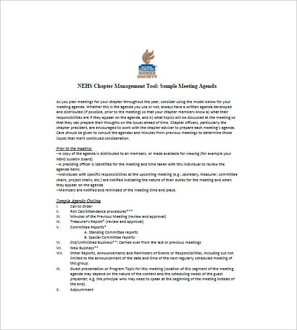 10+ Business Agenda Templates - Free Sample, Example, Format - business meeting agenda format