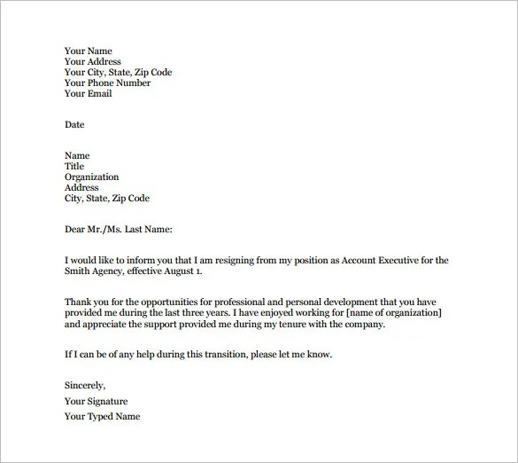 formal resignation letter example - Forteeuforic - Temporary Resignation Letter