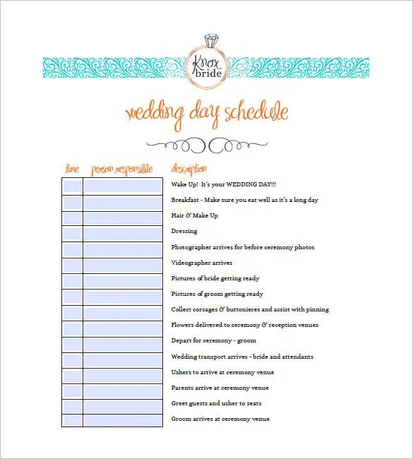 Wedding Agenda Template \u2013 8+ Free Word, Excel, PDF Format Download