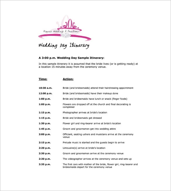 9+ Wedding Agenda Templates - Free Sample, Example, Format Download