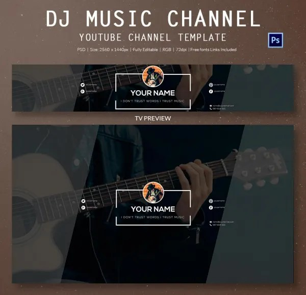 YouTube Banner Template - 50+ Free PSD Format Download! Free - youtube banner template photoshop